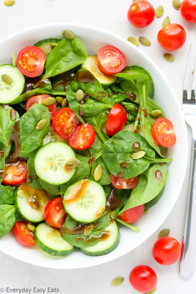 Cherry Tomato and Spinach Salad | Recipe at EverydayEasyEats.com