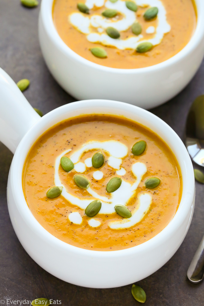 Easy Curried Pumpkin Coconut Soup Recipe - Gluten-free, vegan and paleo! | EverydayEasyEats.com