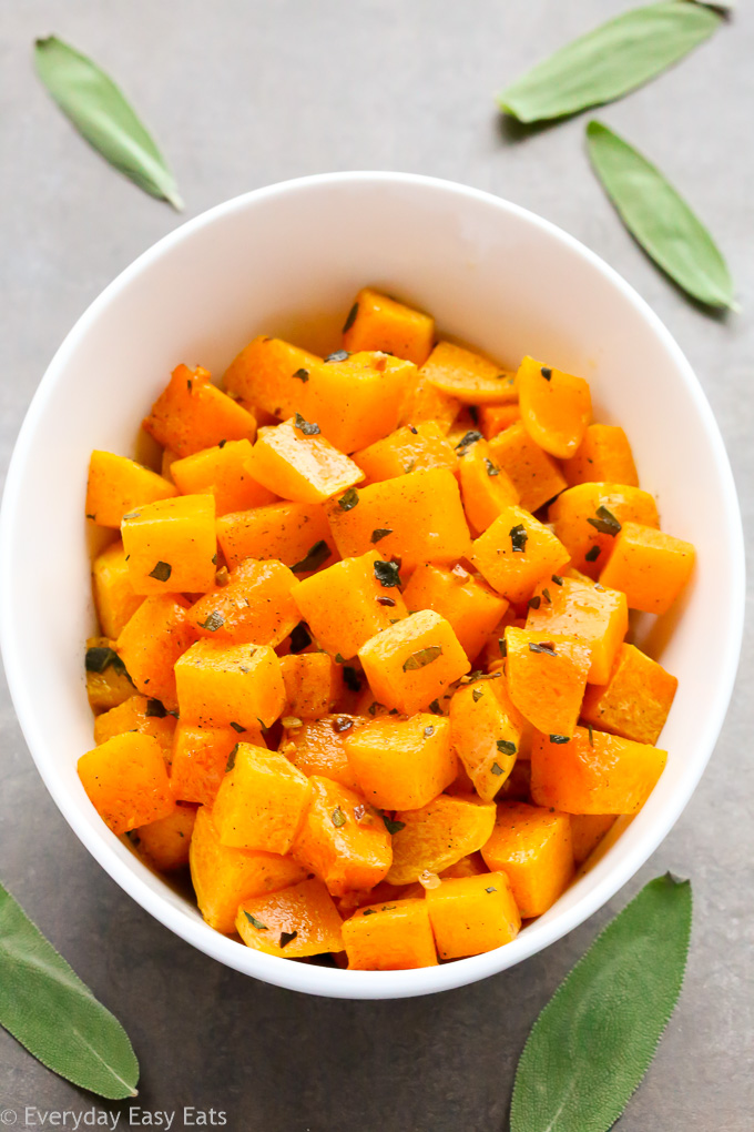 Vegan, Gluten-Free and Paleo Roasted Butternut Squash with Sage | Recipe at EverydayEasyEats.com