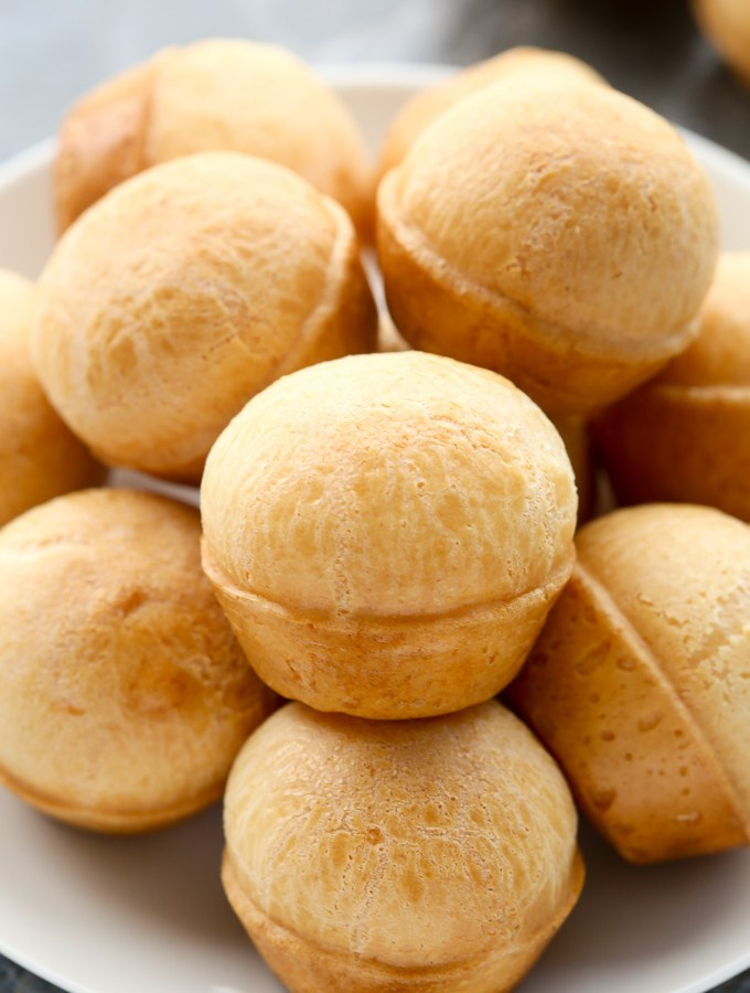 This recipe for Brazilian Cheese Bread, also known as Pão de Queijo, is so unbelievably easy to make. A delicious gluten-free bread recipe that is perfect for snacking. | EverydayEasyEats.com