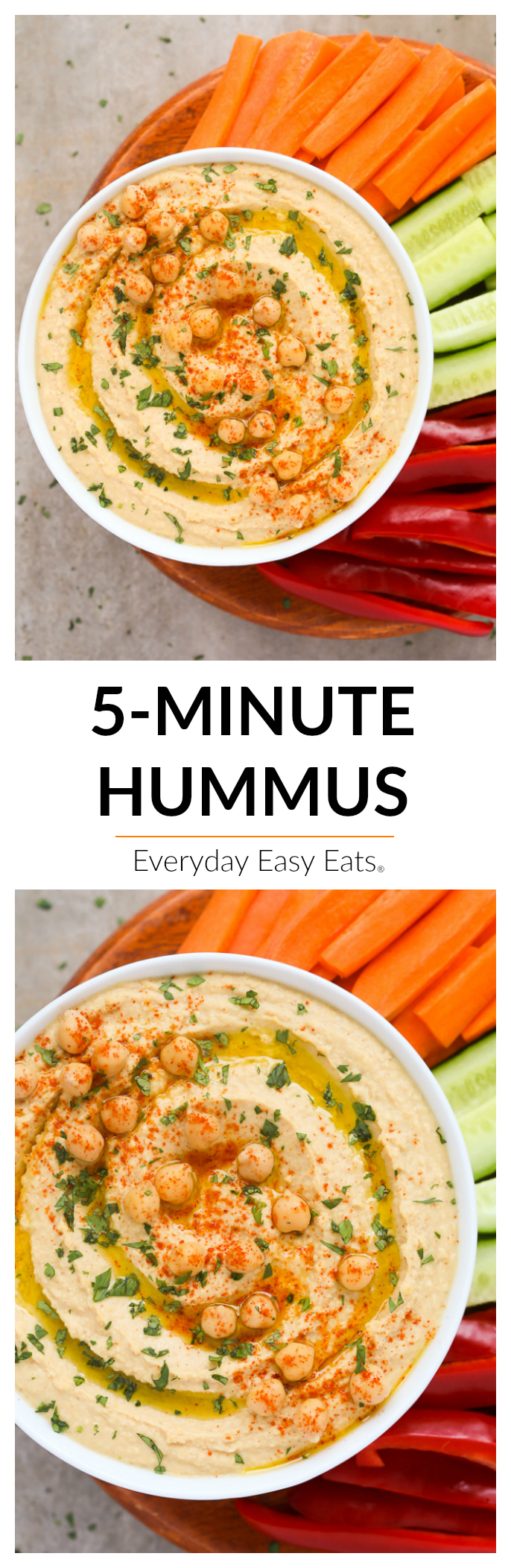 This Classic Hummus recipe is so simple to make and is much tastier than anything you can buy from the store. Vegan, gluten-free and ready to eat in just 5 minutes! | EverydayEasyEats.com