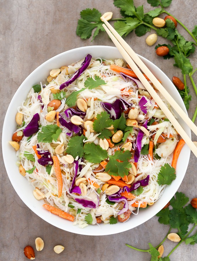This easy Thai Coconut Noodle Salad recipe is light, refreshing and infused with fragrant Thai flavors. Ready to eat in just 7 minutes! | EverydayEasyEats.com