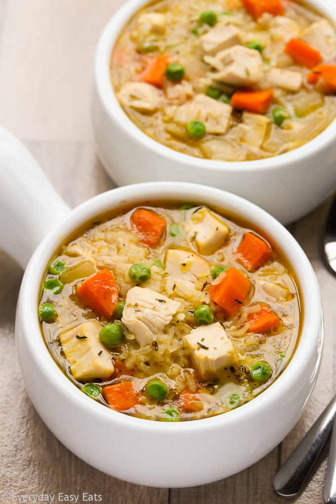 This easy Chicken and Rice Soup recipe is hearty, healthy and gluten-free. | EverydayEasyEats.com