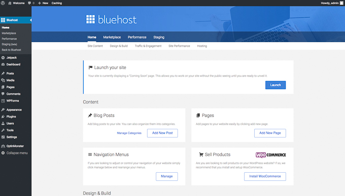Launch WordPress website with Bluehost