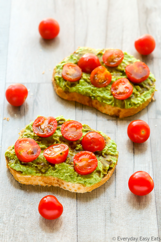 Easy Cherry Tomato Balsamic Avocado Toast | Recipe at EverydayEasyEats.com