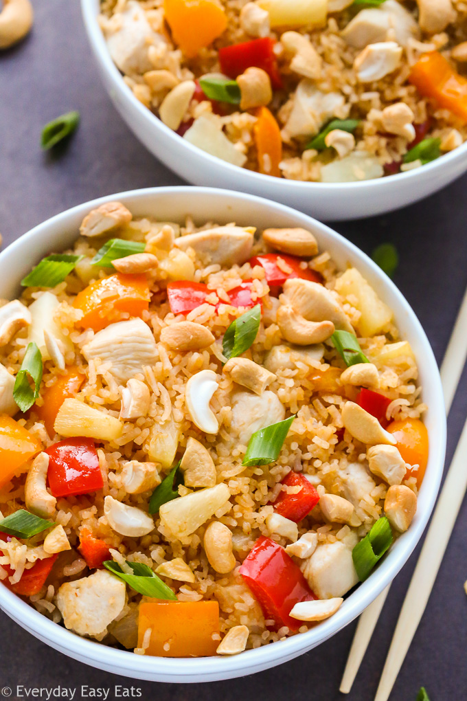 Easy Pineapple Coconut Chicken Fried Rice | Recipe at EverydayEasyEats.com