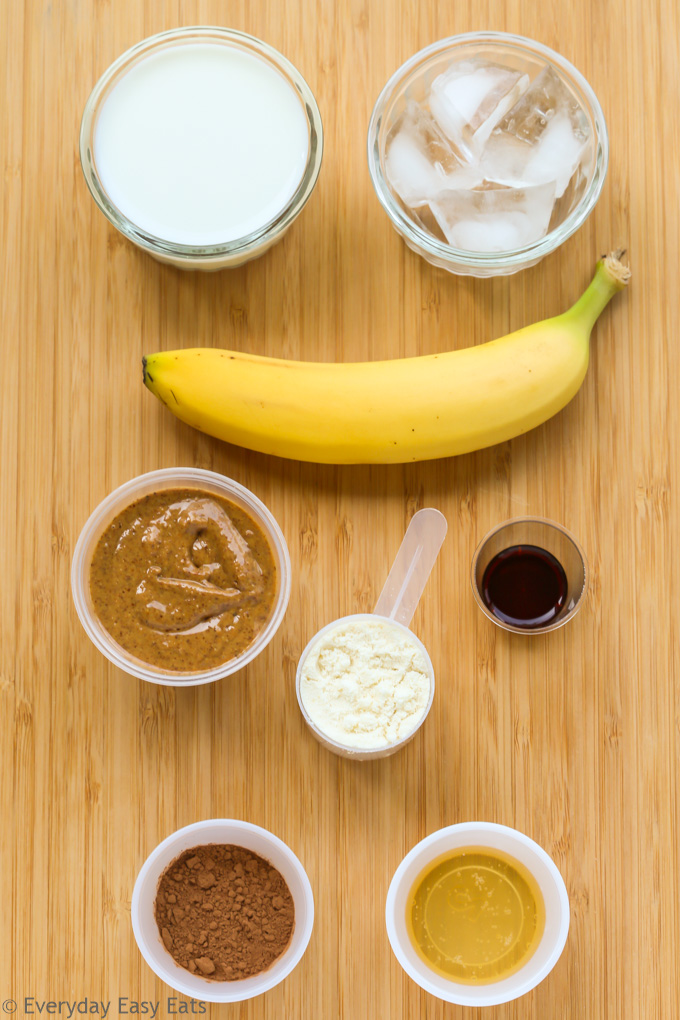 Overhead view of ingredients for Peanut Butter Chocolate Protein Shake