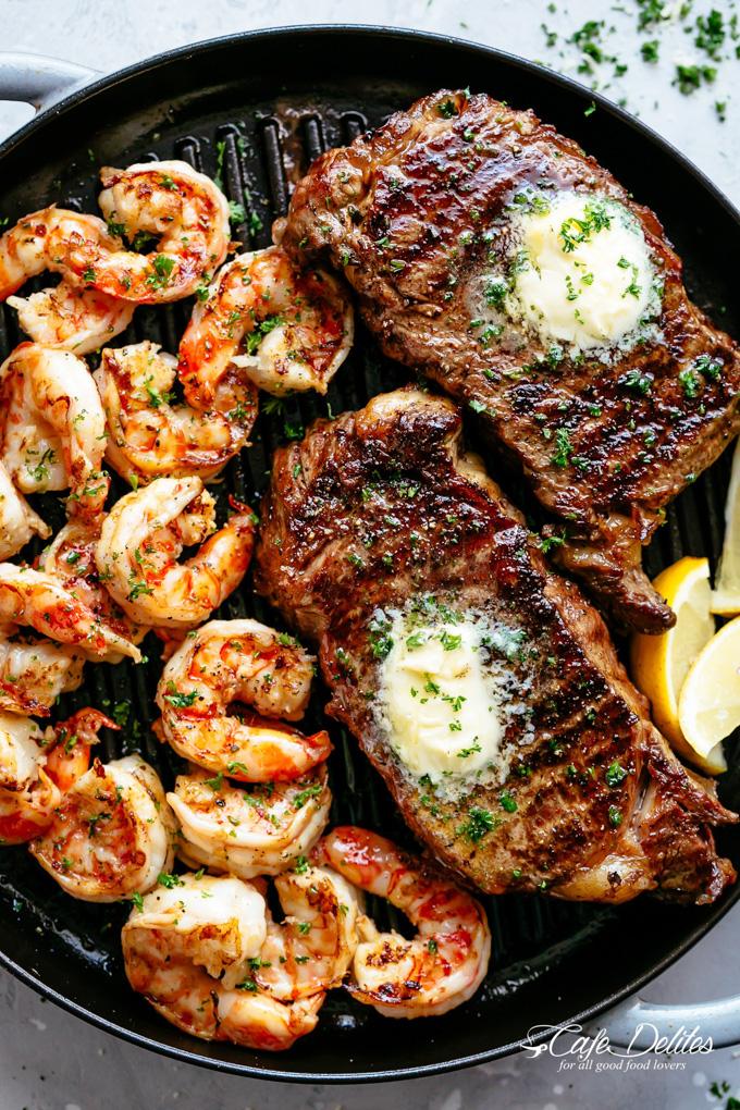Healthy Grilling Recipes: Garlic Butter Grilled Steak & Shrimp
