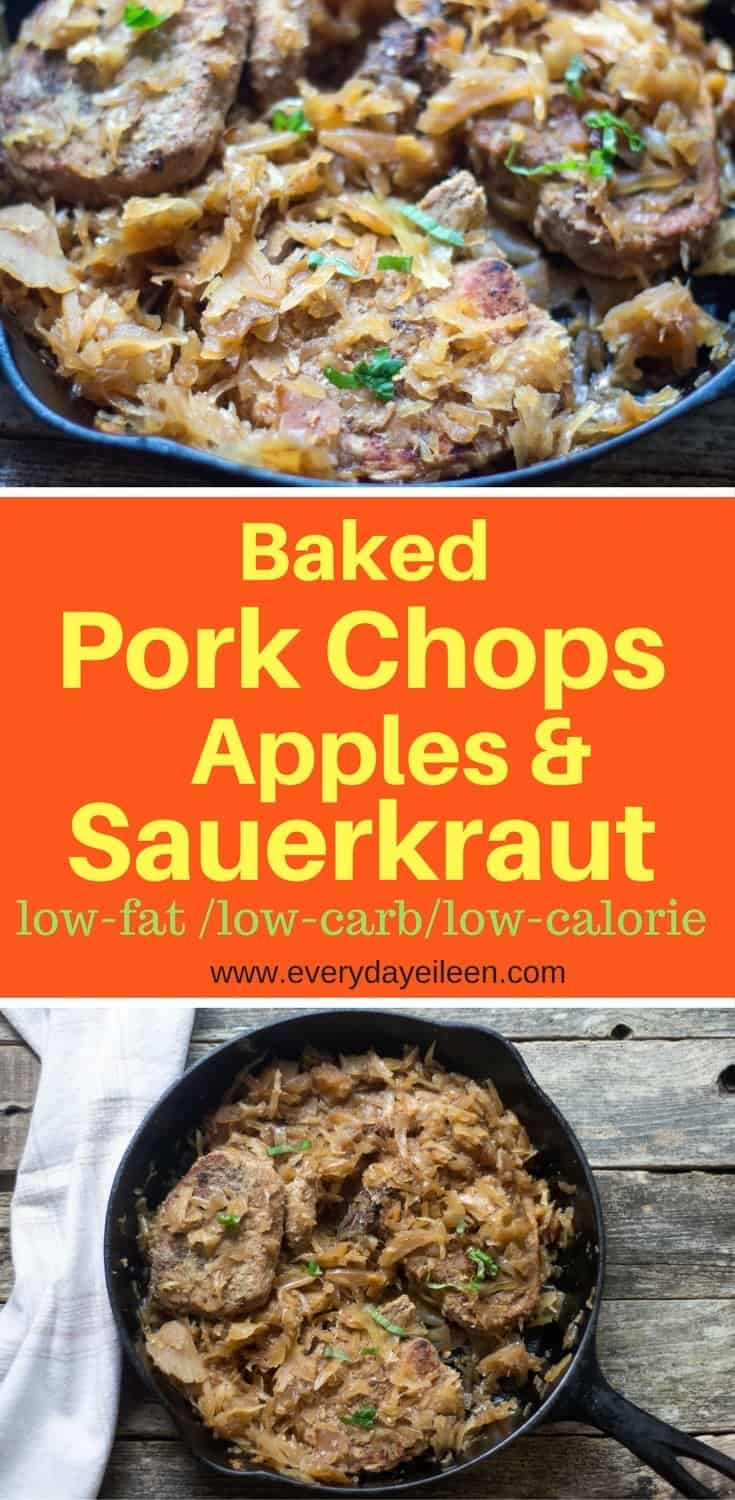 A collage of baked pork chops and sauerkraut. Optimized for Pinterest