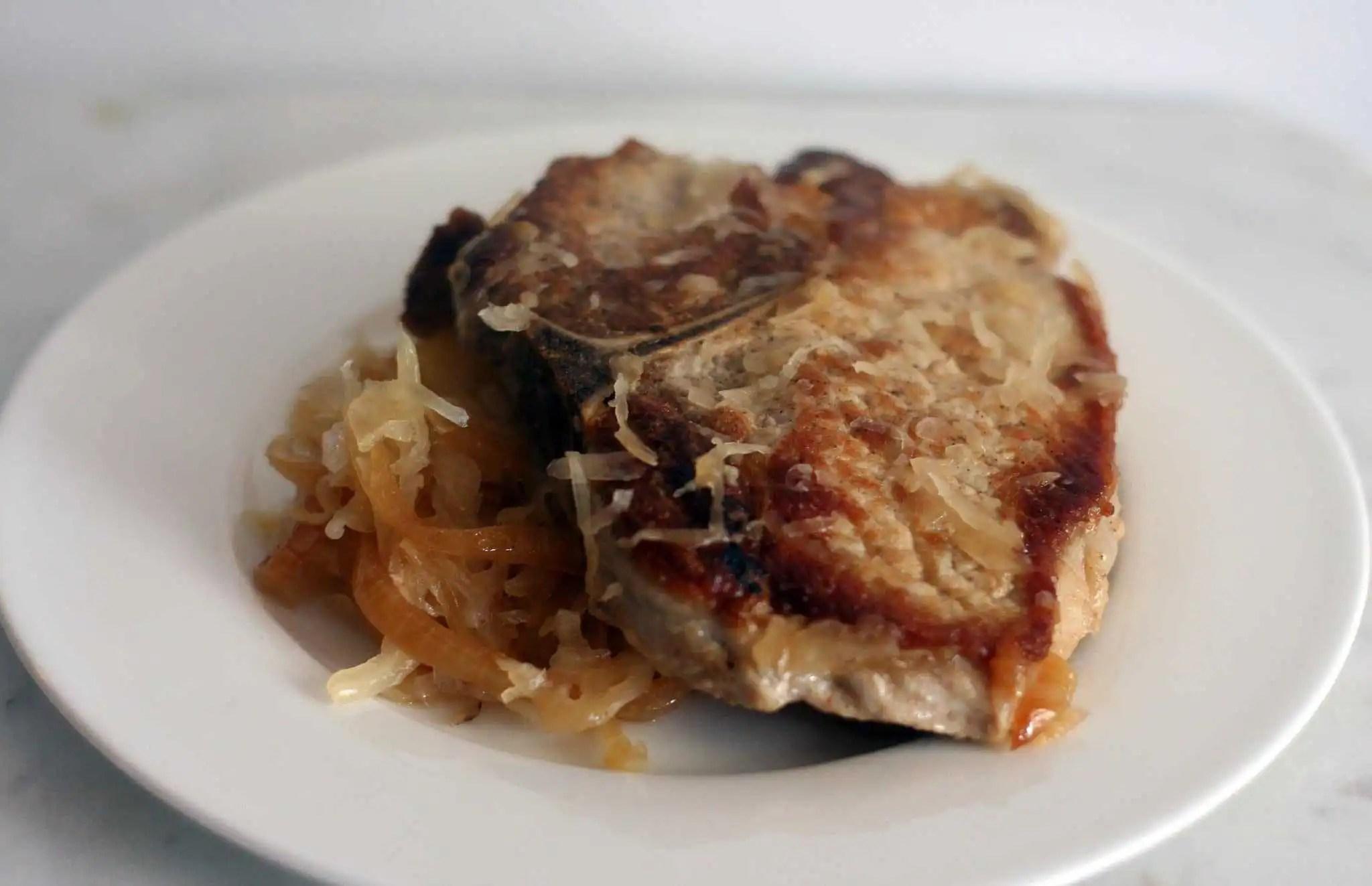 pork chops wit apples and sauerkraut