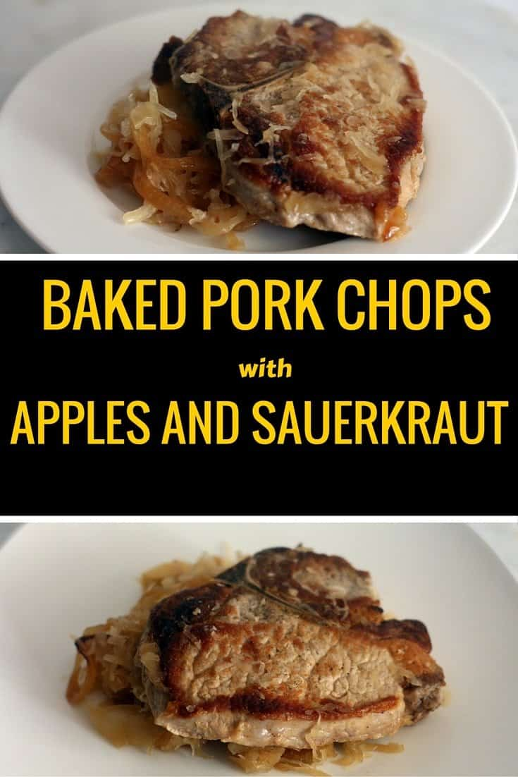 Baked Pork Chops with Apples and Sauerkraut - Everyday Eileen