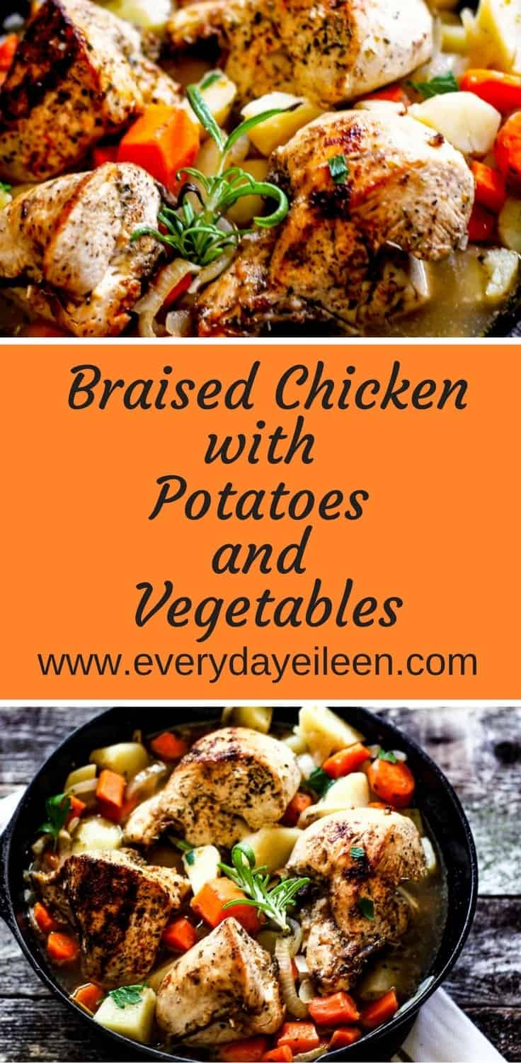 Easiest one pan skinless chicken breasts cooked with potatoes and vegetables