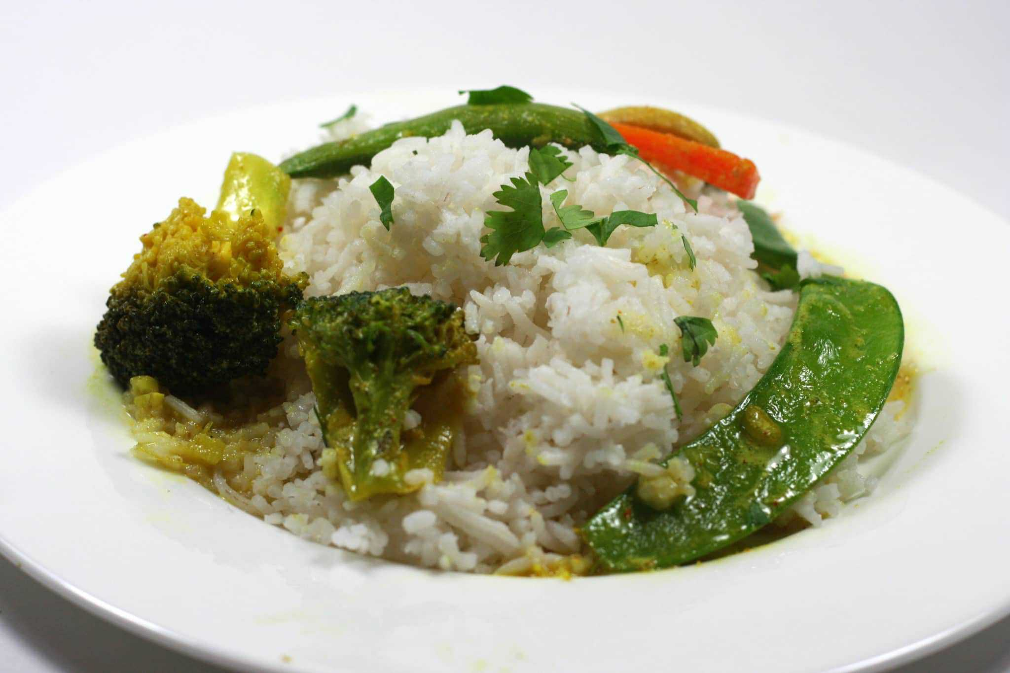 Coconut curry rice and vegetables
