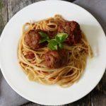 healthy Italian meatballs and homemade marinara over spaghetti