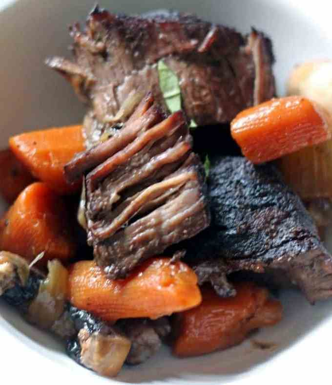 Pot Roast and Vegetables Braised in Red Wine