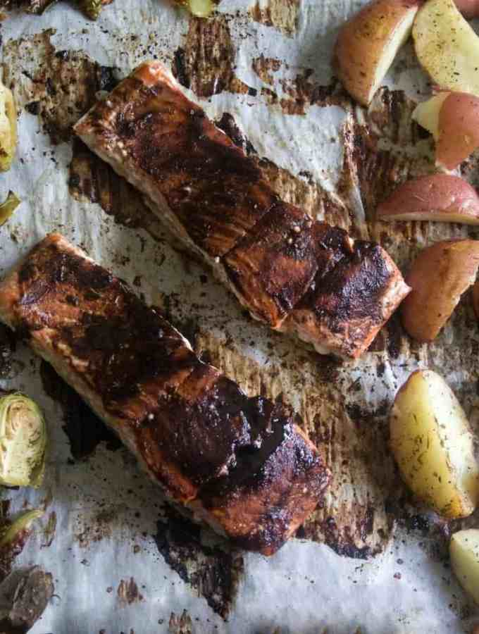 Sheet Pan Balsamic Glazed Salmon, Potatoes and Brussels Sprouts