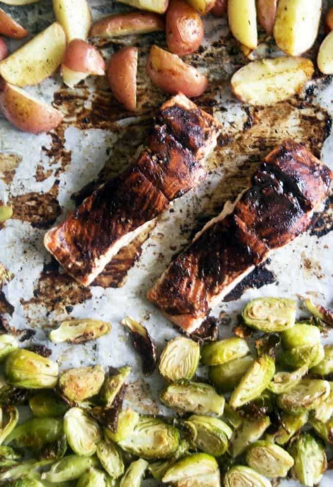 sheet pan balsamic glazed salmon potatoes and Brussels sprouts
