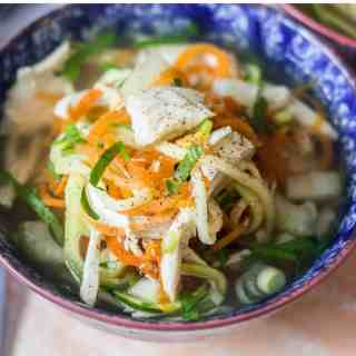 chicken noodle soup made low carb with zoodles
