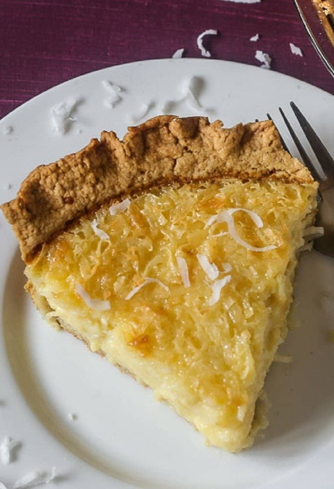 Delicious coconut custard pie sliced and ready to eat and enjoy!