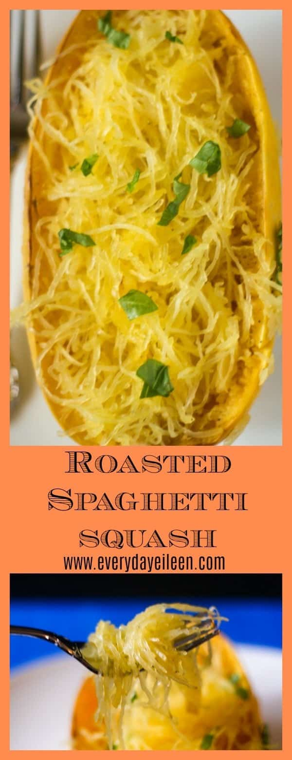 Super easy Roasted Spaghetti Squash is an awesome healthy veggie. Healthy spaghetti squash is a great recipe replacement for pasta. Healthy baked spaghetti squash is also freezer friendly to use for menu planning #spaghettisquash #roastedspaghettisquash #ketofriendlyrecipe #spaghettisquashspaghetti #healthyeating #lowcarbeating #veggies #roastedveggies #cleaneating #everydayeileen