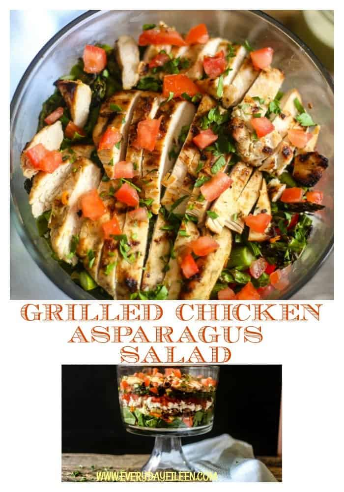 Looking for an easy meal full of flavor and full of great ingredients. This grilled chicken asparagus salad delivers it all in one big salad. A great meal on its own, perfect as a potluck addition for a family gathering! #BBQWeek #MIasparagus #summergrilling #summrsalad #chicken #lemonbasilvinagriette #bbq #salads #everydayilen