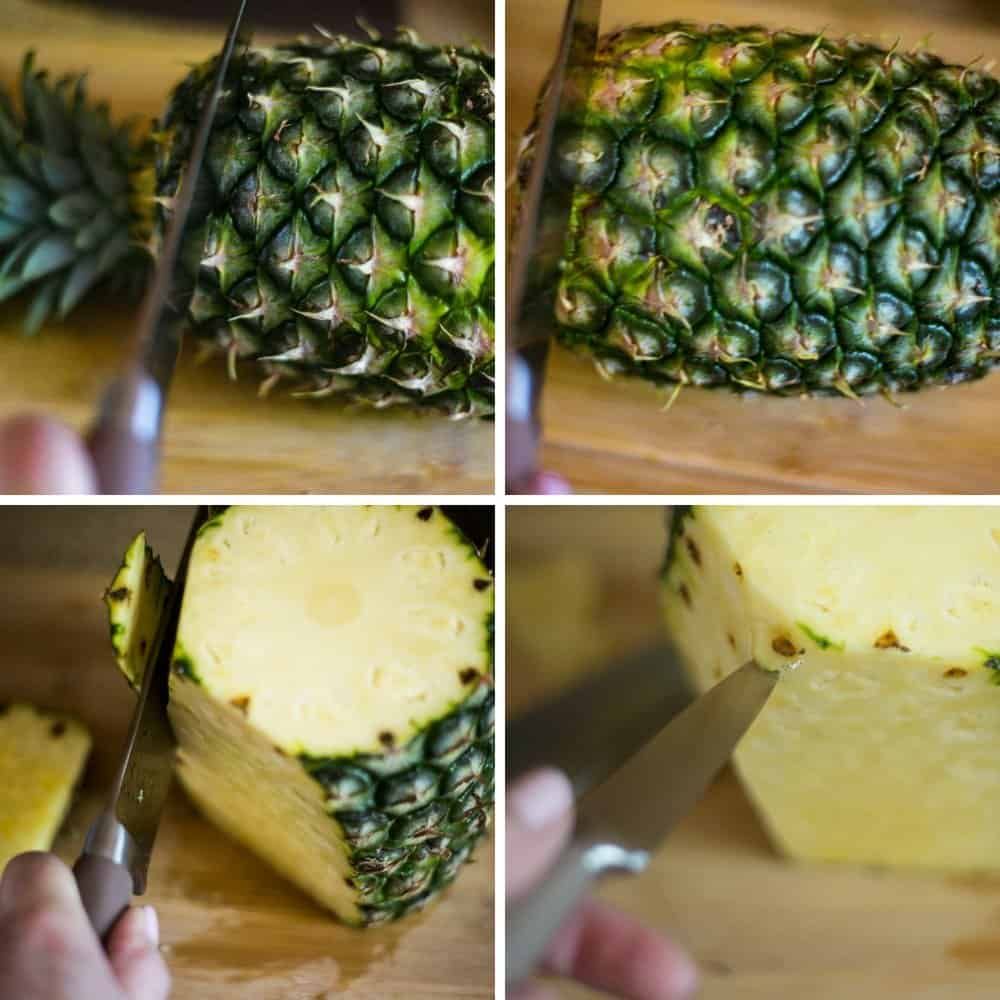 A collage of the instructions on How to Cut a Pineapple.