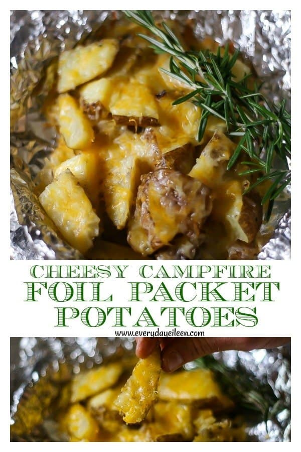 Cheesy Campfire Foil Packet Potatoes are a perfect side dish for any BBQ or campfire meal! Easy cleanup using aluminum foil! Sliced potatoes and sweet Vidalia onions are cooked with some olive or coconut oil and topped with Colby Jack cheese for cheesy potatoes. #campfirepotatoes #foilpacketpotatoes #grilling #grilledpotatoes #hobomeals #grilledpotatoesandonions #grilledfoilpotatoesandcheese #everydayeileen