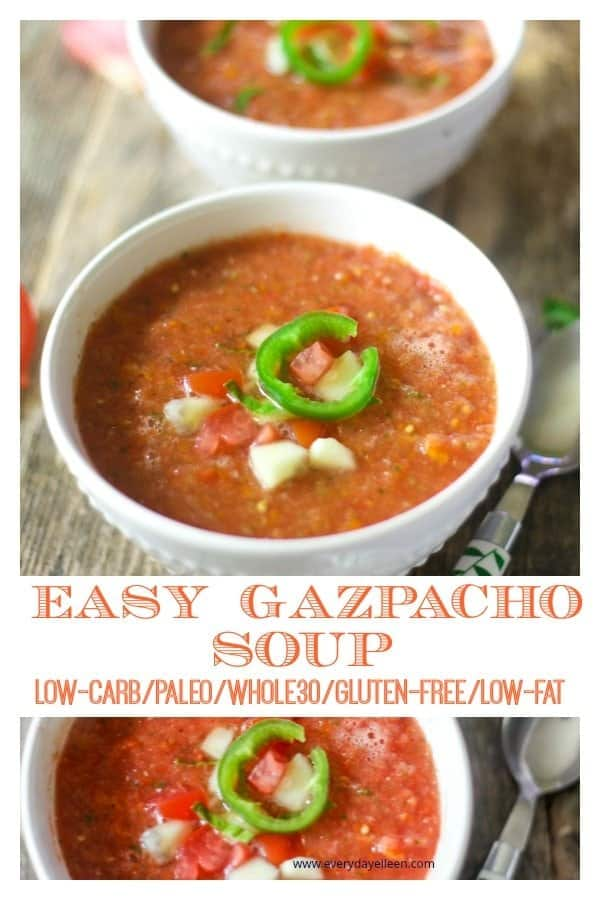 A collage of pictures of low-carb gazpacho soup