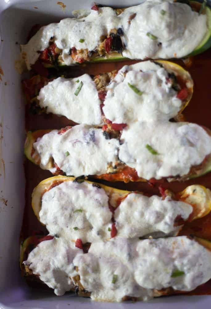 Vegetable Lasagna Stuffed Zucchini Boats Everyday Eileen