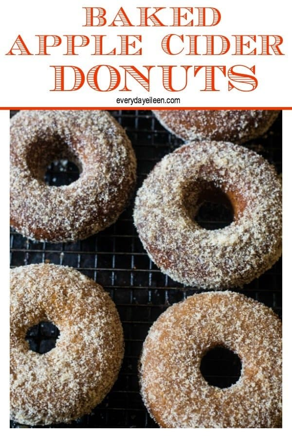 Baked Apple cider donuts topped with cinnamon sugar