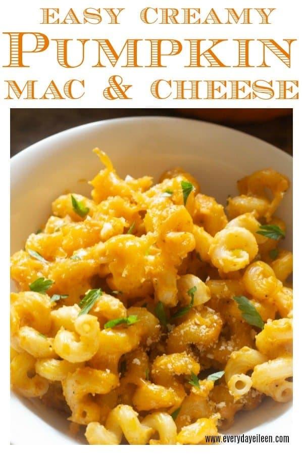 creamy pumpkin mac and cheese in a white bowl