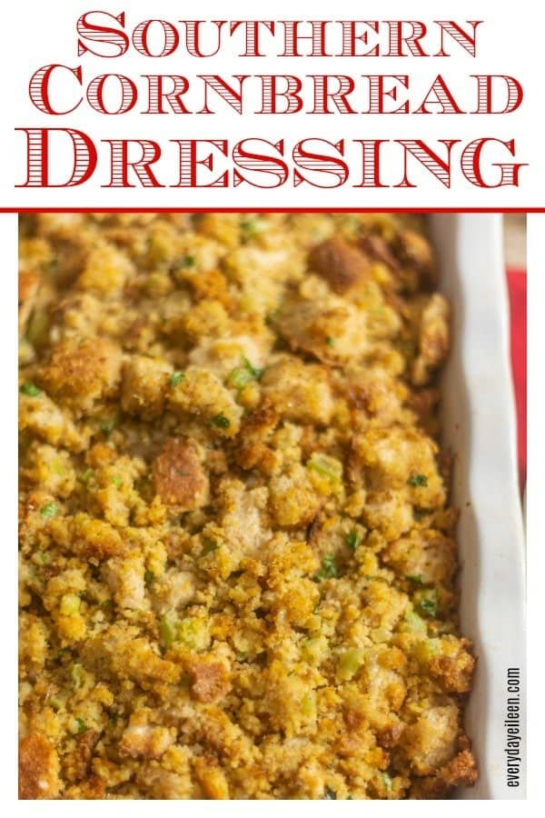 Delicious southern cornbread dressing in a large casserole dish ready to be served for dinner
