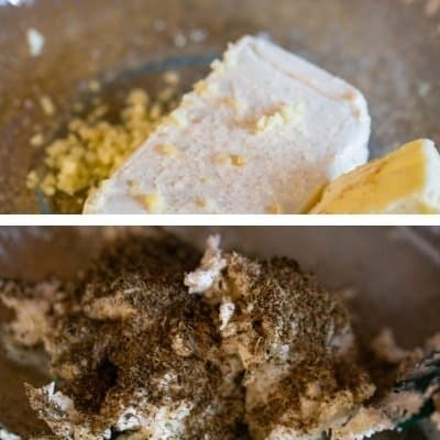 A collage of pictures of Boursin Cheese being made. Top photo is cream cheese, unsalted butter and Himalayan salt and bottom photo is adding herbs to cheese mixture