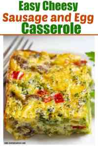 Delicious cheese egg sausage casserole with broccoli on a white plate with a silver plated fork on the side.