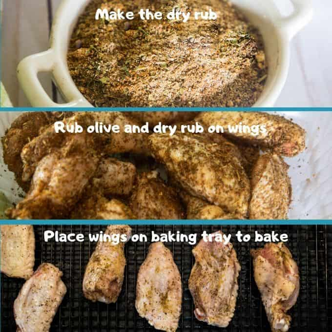 a pictorial step by step of how to apply a dry rub to chicken wings