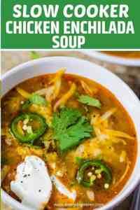 chicken enchilada soup in a white soup bowl