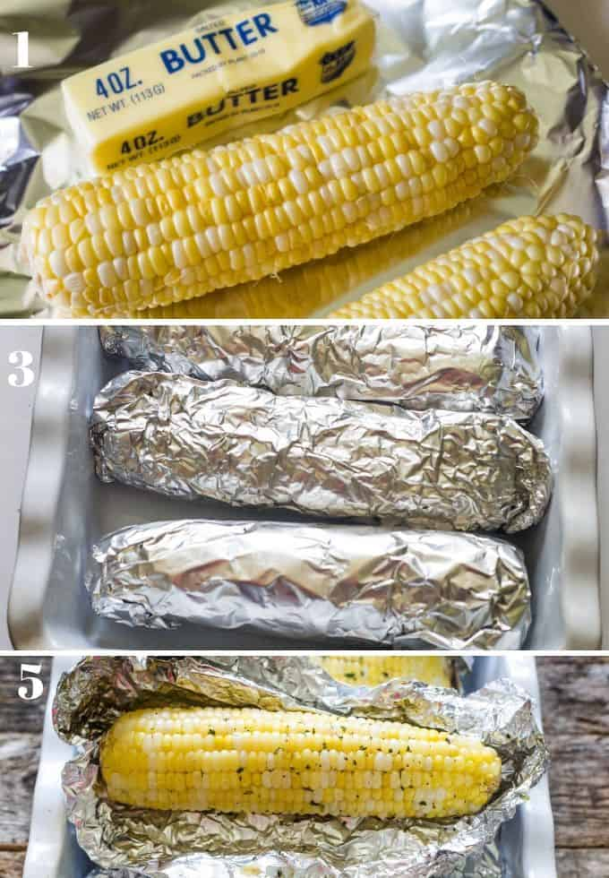 step by step pictorial of how to roast corn on the cob