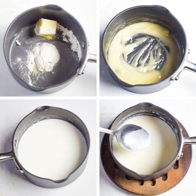 collage of how to make cheese sauce