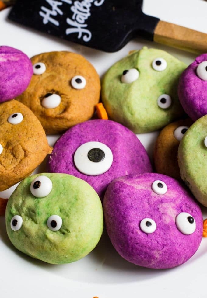 Multi colored monster cookies with edible eyes