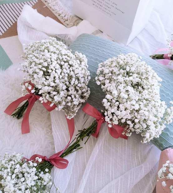 White BabyBreath Bridesmaid Bouquet