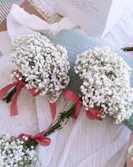 White BabyBreath Bridesmaid Bouquet