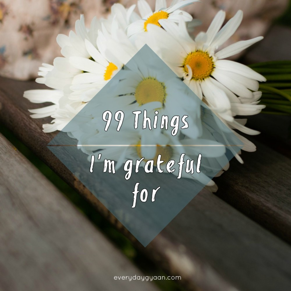 99 Things I Am Grateful For #FridayReflections #everydaygratitude