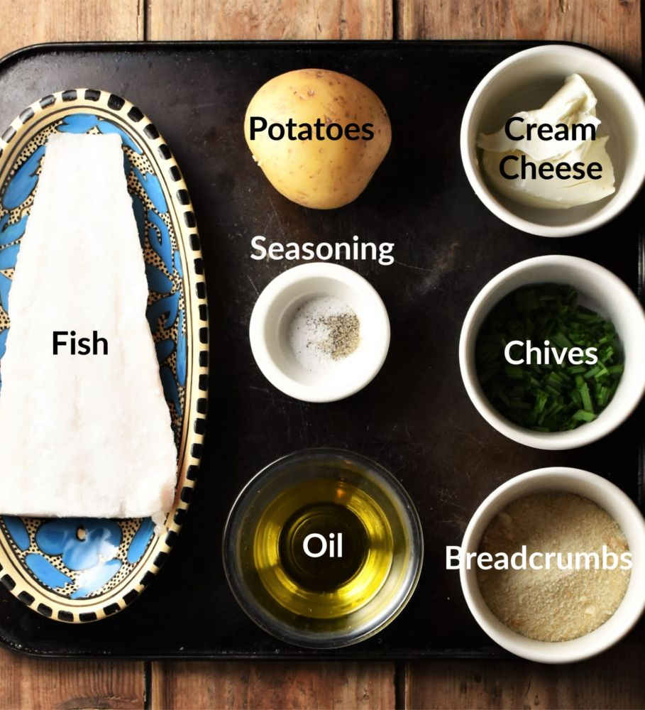 Fish cake ingredients in individual dishes.