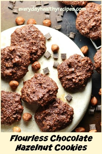 Gluten Free Chocolate Hazelnut Almond Cookies are dairy free, low in fat and sugar and make a delicious healthy treat.