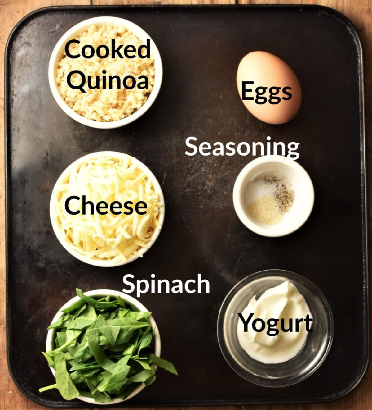 Quinoa egg muffin ingredients in individual dishes.
