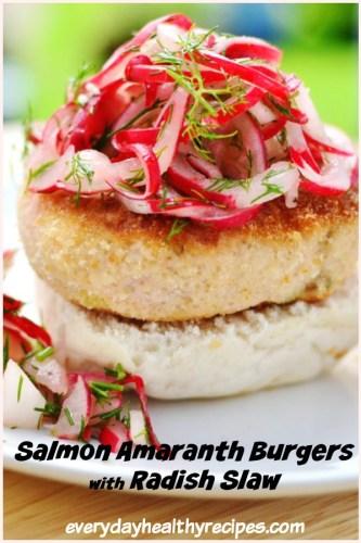 Salmon Amaranth Burgers with Radish Slaw
