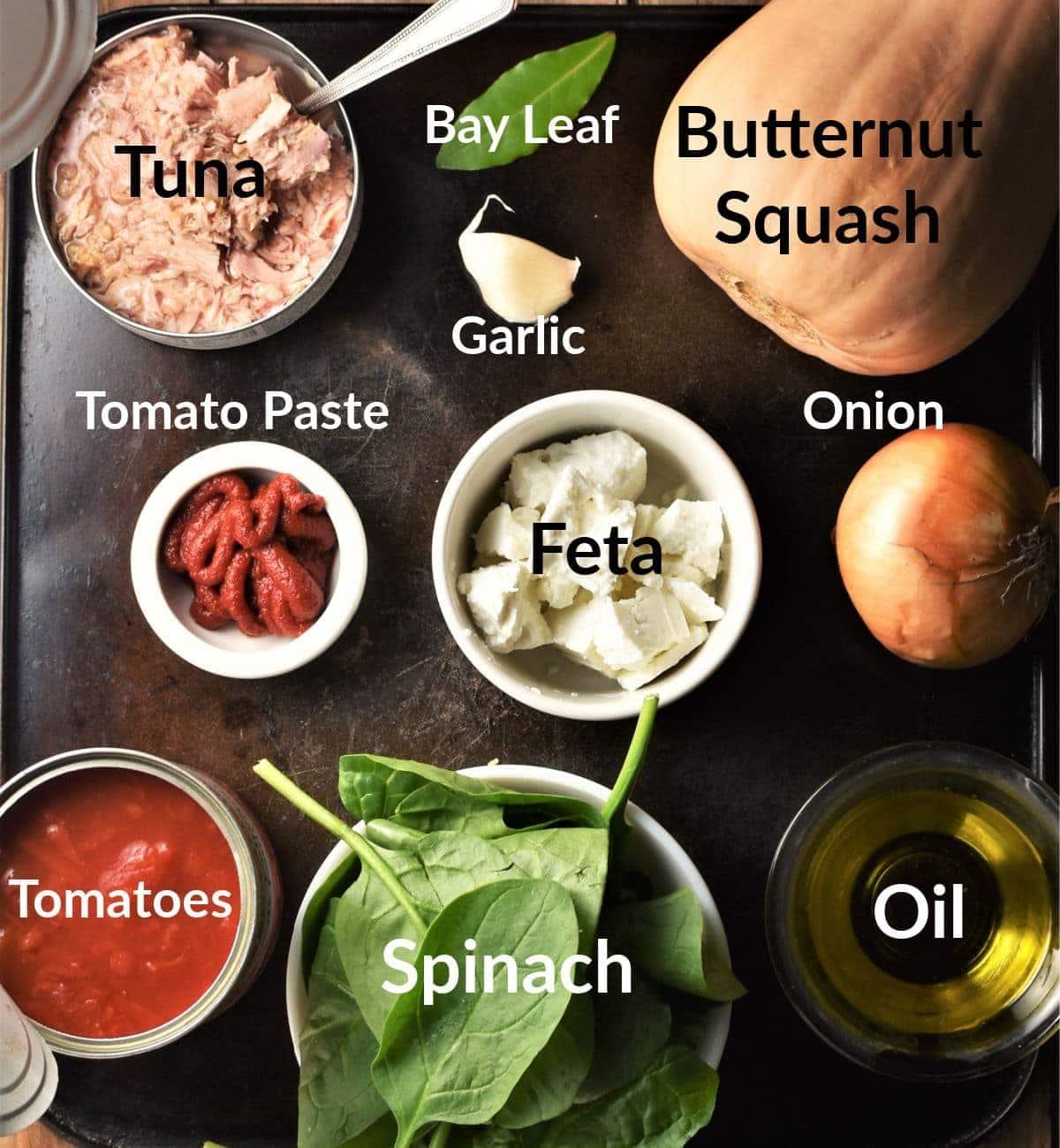 Tuna bake ingredients in individual dishes.