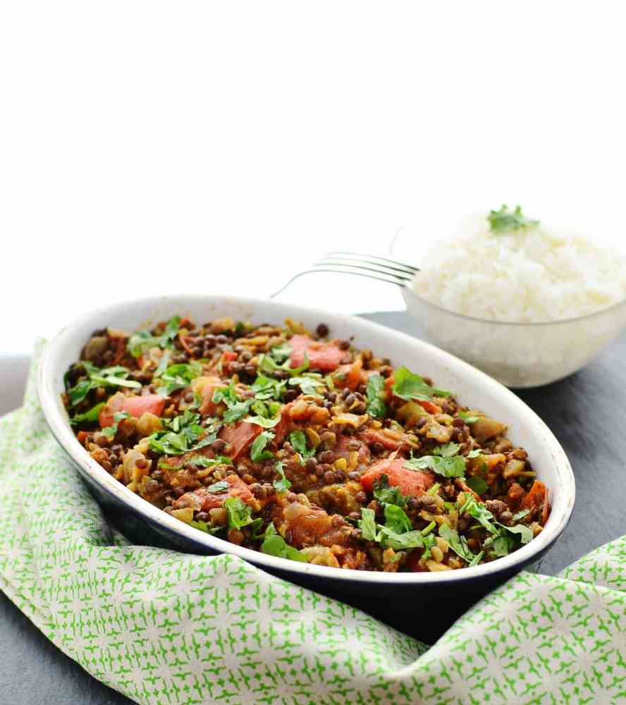 Curried Beluga Lentils Recipe with Vegetables