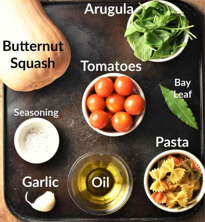 Pasta with butternut squash ingredients in individual dishes.