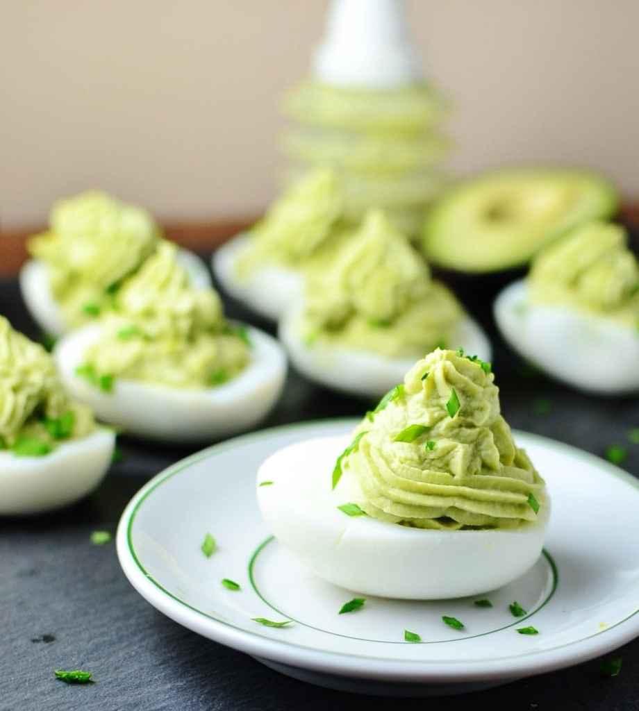 Avocado horseradish devilled eggs